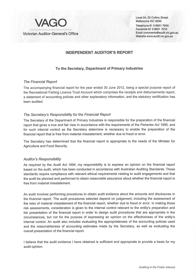 VAGO independent auditor's report