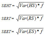 Formula used for standard error for estimated total harvest calculations