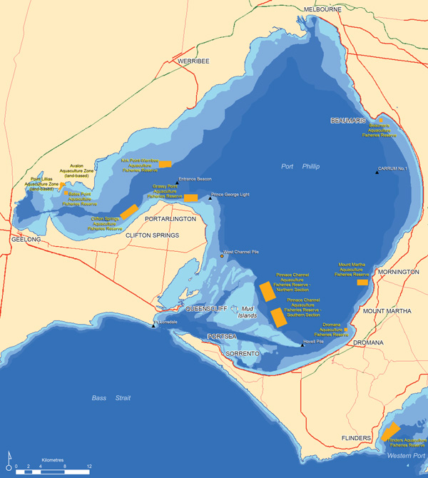 Aquaculture zones of Port Phillip and Western Port map