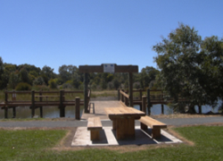 The new fishing platform at Tea Tree Lake, Mortlake