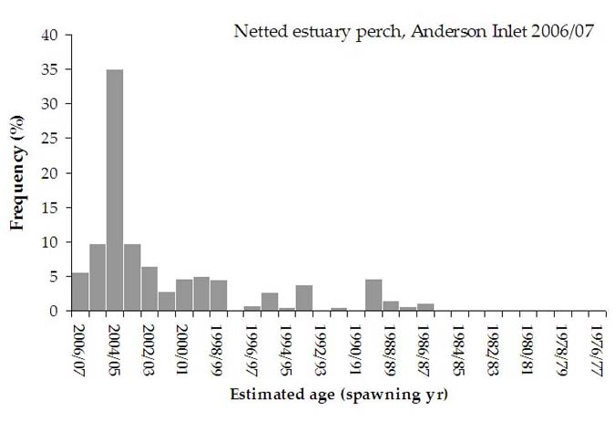 Figure 14. Esitmated age distribution of estuary perch caught by mesh and trawl nets in Anderson Inlet for 2006/07