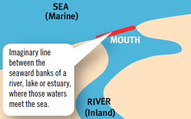 a map displaying an inland and marine water boundary