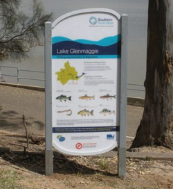A new sign installed at Lake Glenmaggie that lists the variety of fish species available to recreational anglers in the lake