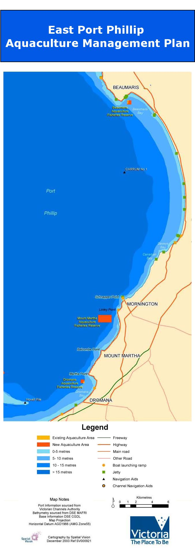 Map showing Eastern Port Phillip Bay Aquaculture Fisheries Reserves.