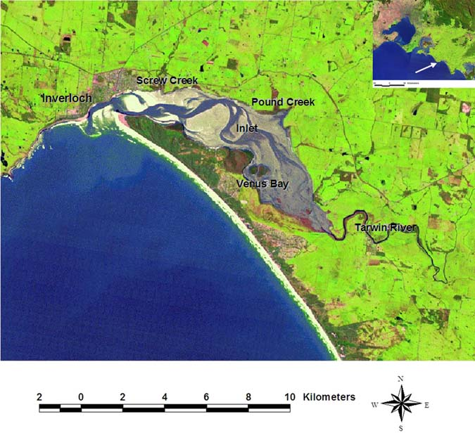 Figure 15. Aerial picture of Anderson Inlet showing primary sampling locations. Inset: Location of Anderson Inlet along the Victorian coastline.
