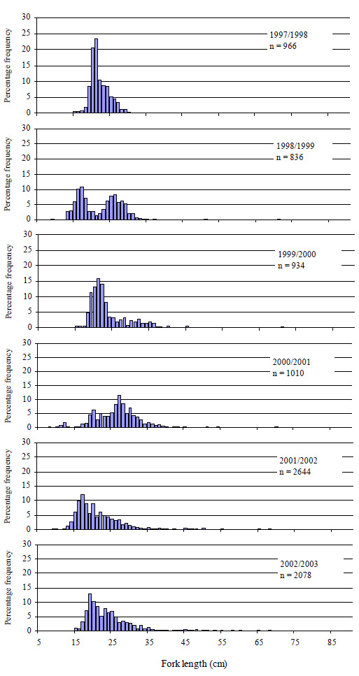 Graph: Figure 9. Size composition of all snapper caught (both retained and released) by anglers contributing to the Fishing Diary Program who fished in Port Phillip Bay from 1997 to 2003 (n=number of fish measured).
