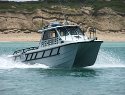 Fisheries Patrol boat on the waters