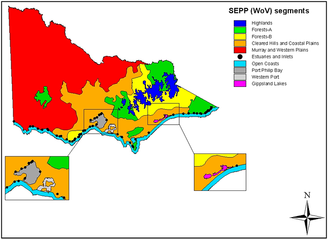 Map: SEPP (Waters of Victoria) and its schedules environment segments