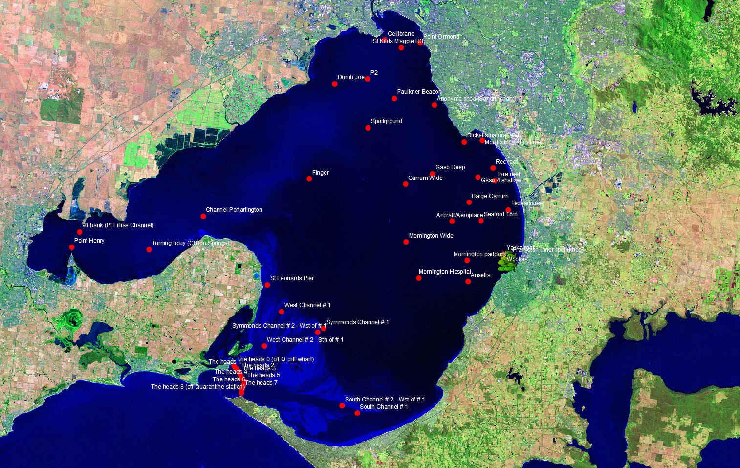 Port Phillip Bay showing locations of listening stations (red dots).